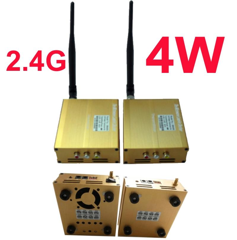 4 Вт cctv передатчик 2,4 г Беспроводной аудио видео трансивер FPV передатчик беспилотный работу передатчика 6 км добавить 24dbi антенна
