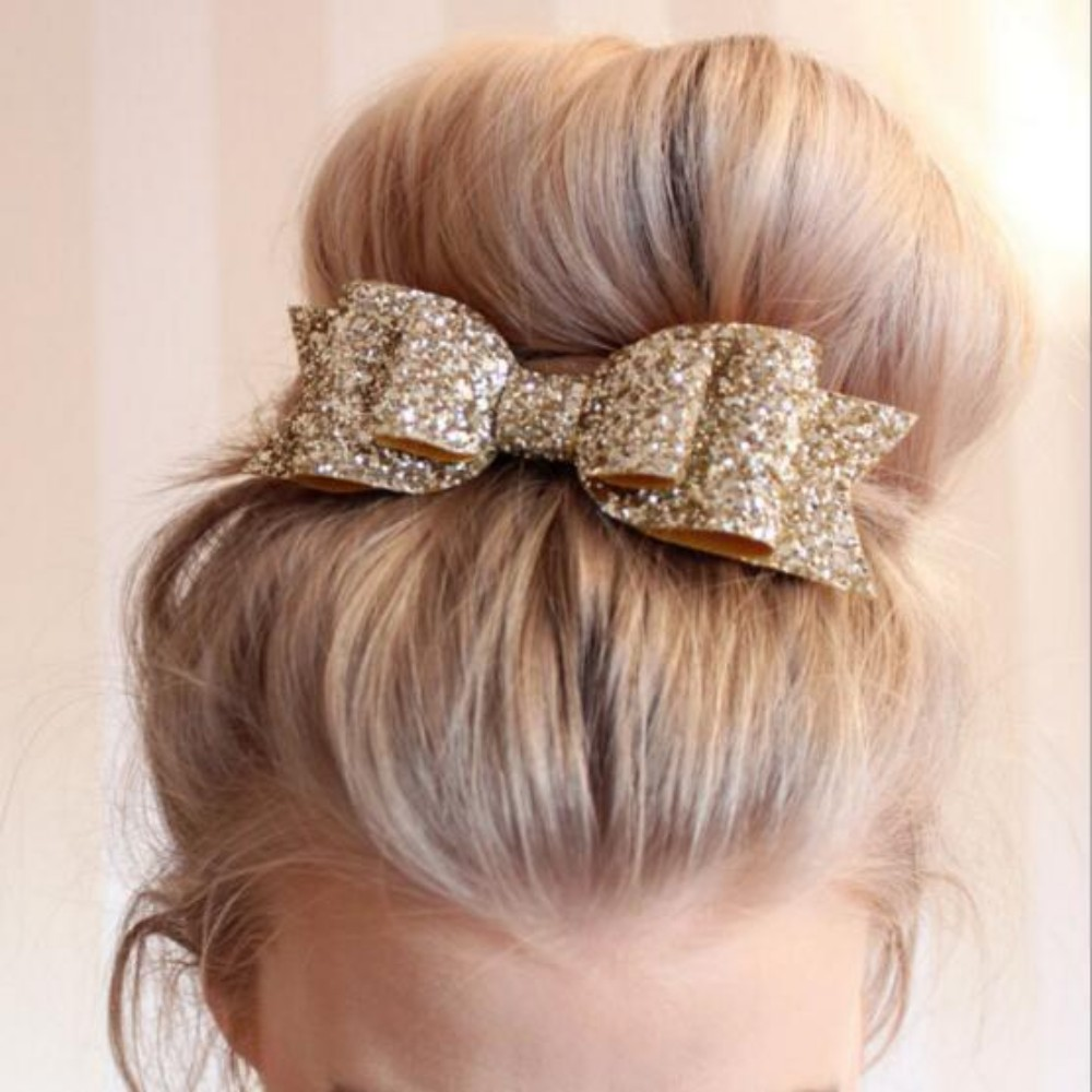 Women font b Baby b font Girls Bling Hair Clip Sequined Big Bow Knot Shiny Headwear