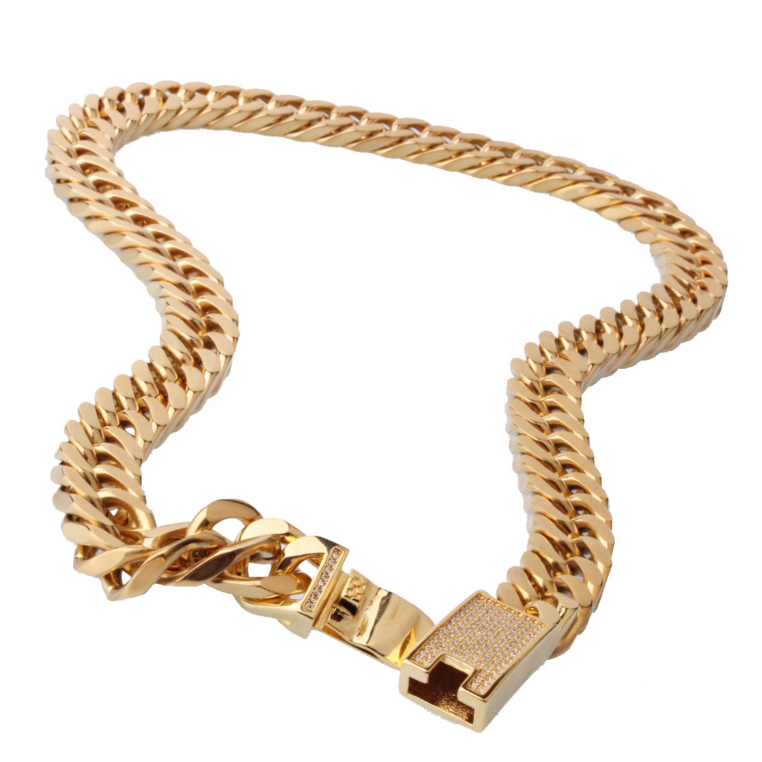 15MM New Charming 316L Stainless Steel Gold Jewelry Miami Cuban Chain Link Mens Boys Necklace Or Bracelet Bangle 7 32 inch in Chain Necklaces from Jewelry Accessories