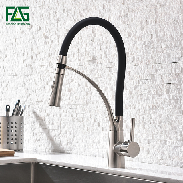 brushed nickel kitchen faucet with sprayer commercial floor coverings flg black rubber design and deck mounted pull down dual spray nozzle
