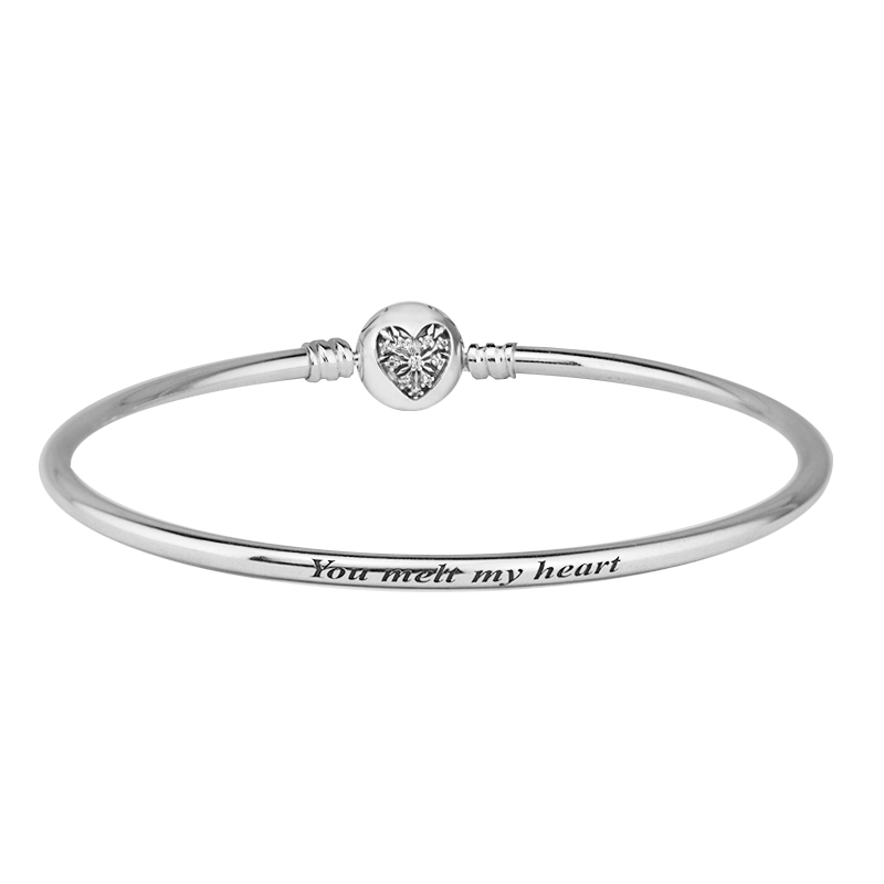 Moments Heart of Winter Clasp Bangle 100% 925 Sterling Silver Jewelry You Melt My Heart Charm Bangle Bracelets For Women beaded detail heart charm bangle