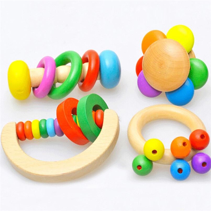 Wooden Childreds Toys Colorful Baby Rattles Grasp Play Game Teething Infant Early Musical Educational Toy Gift For Baby JE05#F
