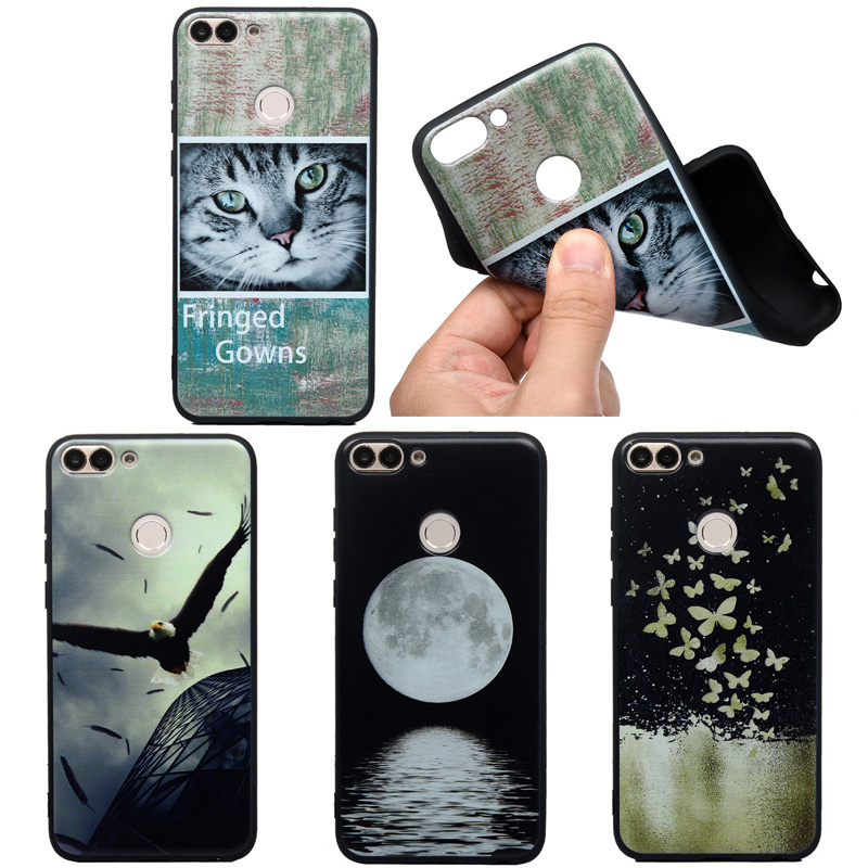 Cute Print Phone <font><b>Case</b></font> For <font><b>Huawei</b></font> P30 PRO P20 P8 LITE Y5 Y6 <font><b>Y7</b></font> PSmart Soft TPU Silicone <font><b>Cat</b></font> Back Cover Animal <font><b>Cases</b></font> Coque Matte image
