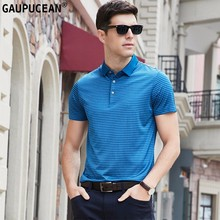 Polo-Shirt High-Quality Short-Sleeve Cool Blue Stripe Casual Fashion Summer Man Male