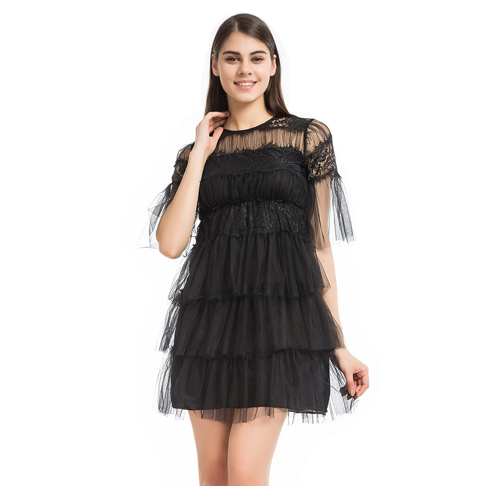 Autumn Summer Casual Plus Size Women Mini Dresses Sexy Neckline Perspective Lace Hollow Out Cascading Ruffle Black Dress