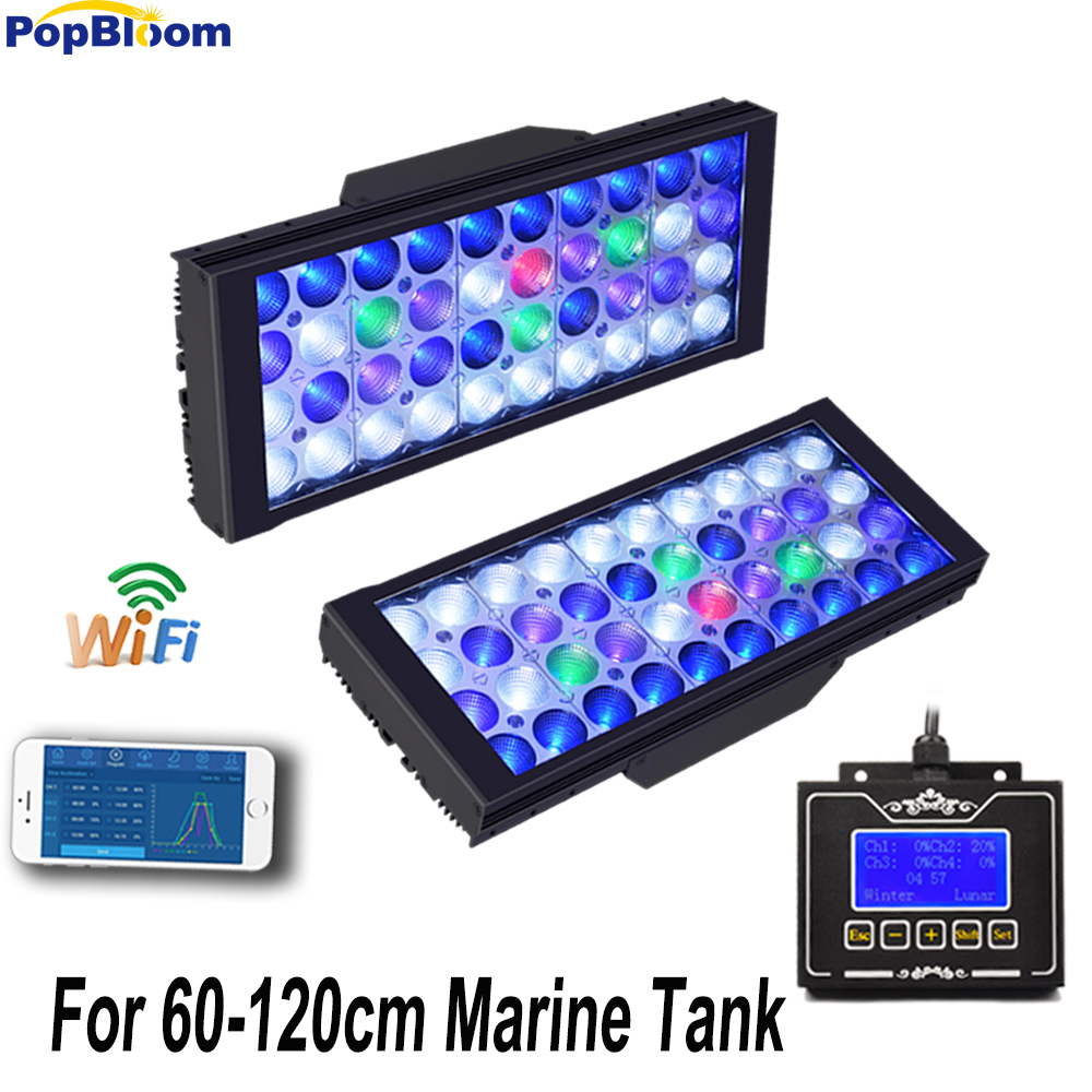 PopBloom 2 PCS 165 W LED Aquarium Lumière pour 120 CM Marine Coral Reef Aquarium LED Éclairage Dimmable Lever Du Coucher Du Soleil MJ3BW2