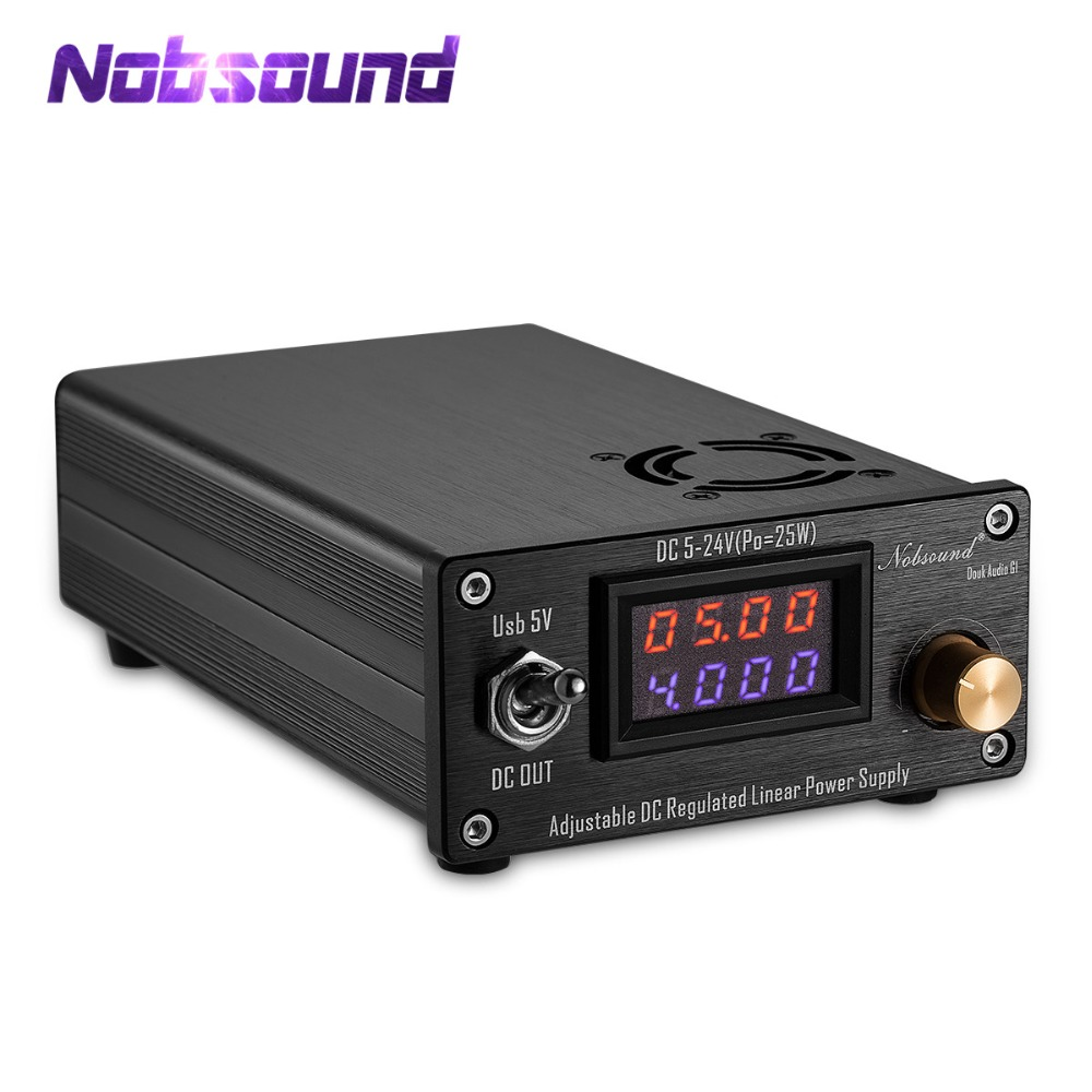 Nobsound 25W Adjustable DC Regulated Linear Power Supply With USB 5V and DC 5V-24V Output For Audio DAC/Digital Players nobsound lps 25 usb hi end 25w dc5v 3 5a usb low noise linear power supply for audio dac digital interface