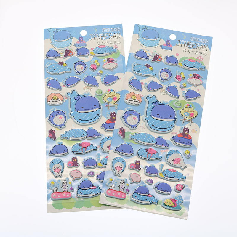 High Quality Scrapbook Expression Small Animal Marine Whale Stationery Sparkling Sparkling Bubble Fluffy Sticker