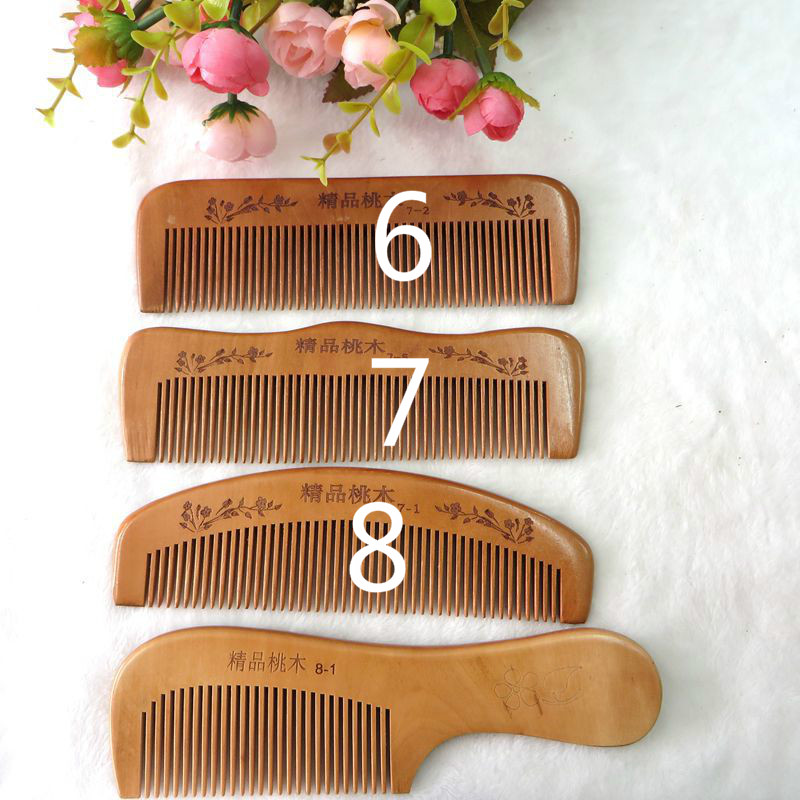TI14 Peach wood comb carved old material Thicker teeth tooth hair necessities green sandalwood combed wooden head neck mammary gland meridian lymphatic massage comb wide teeth comb