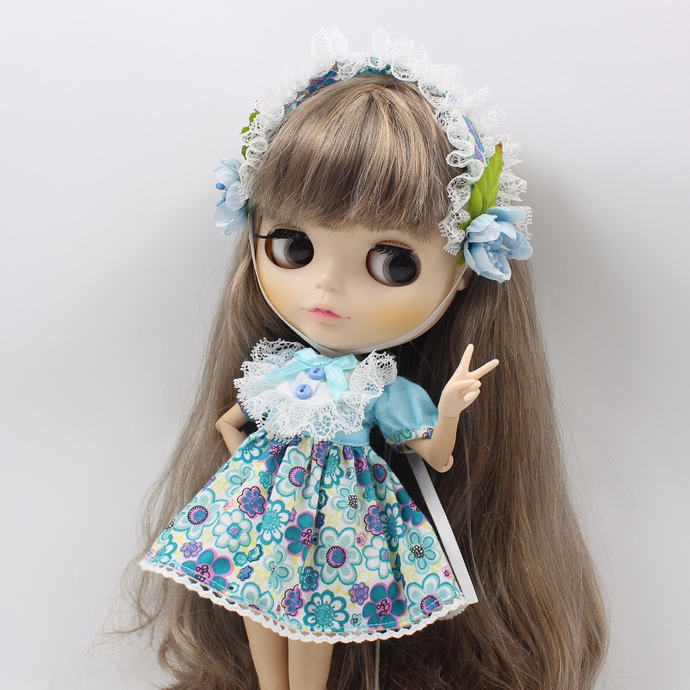 Neo Blythe Doll Blue Flower Outfit With Headdress Dress 3