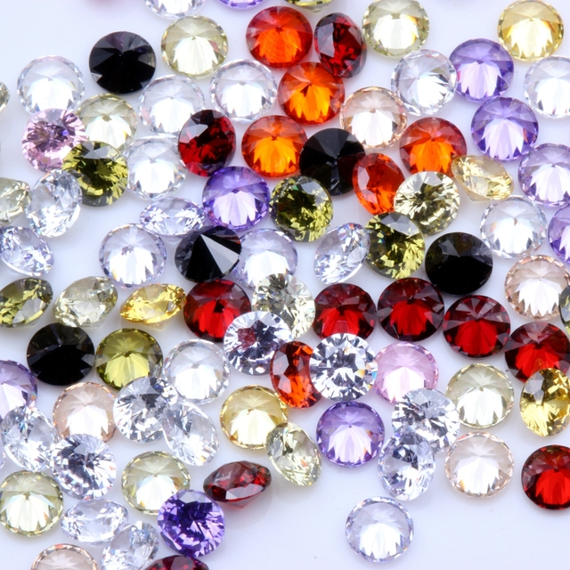 Mixed Colors 100pcs 1mm 4mm AAAAA Round Beads Cut CZ Stone Brilliant Cubic  Zirconia Synthetic Gems stone-in Rhinestones & Decorations from Beauty &