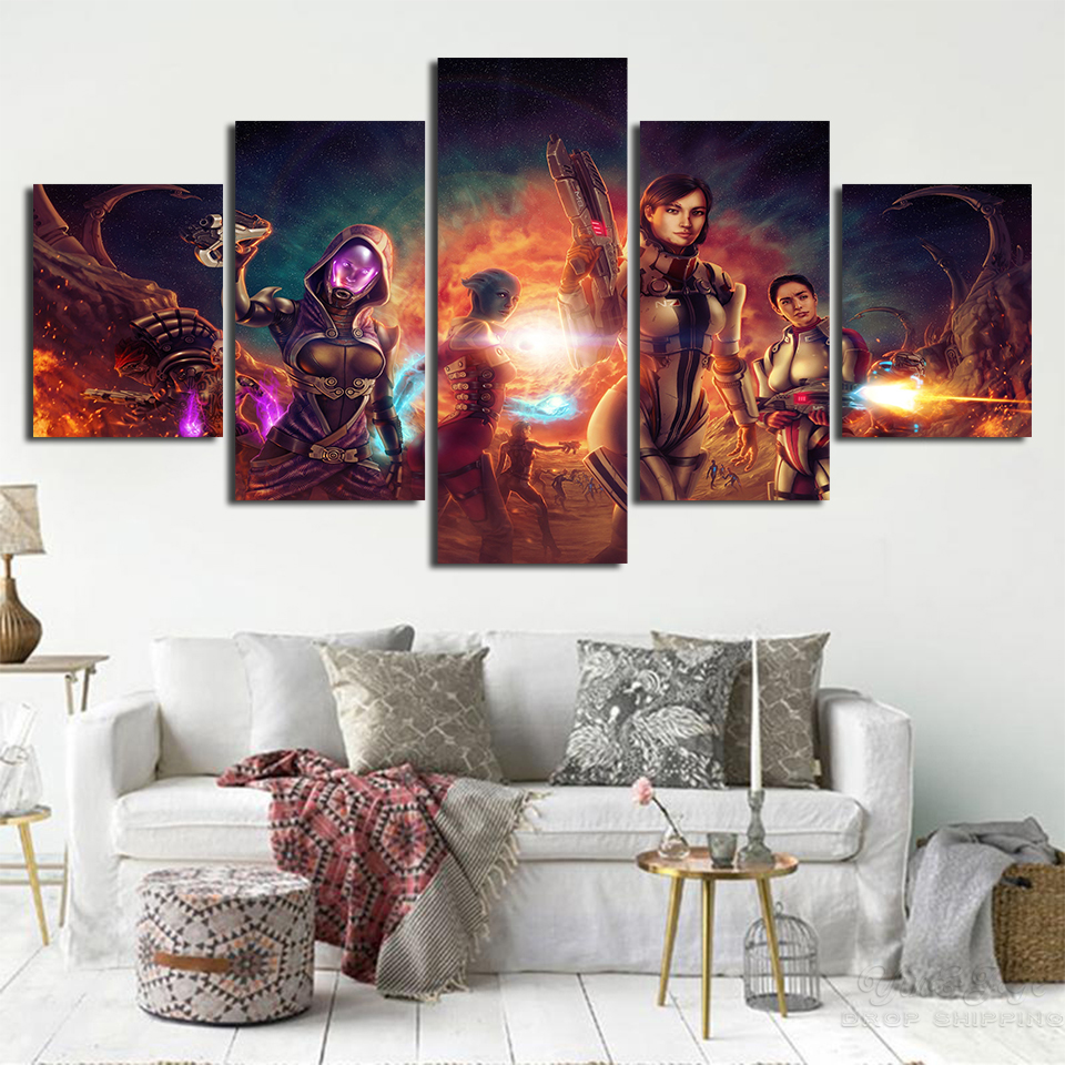 Wall Art Abstract Canvas Painting 5 Pieces Mass Effect Pictures Prints Home Decoration Game Poster For Living Room Modular Frame image