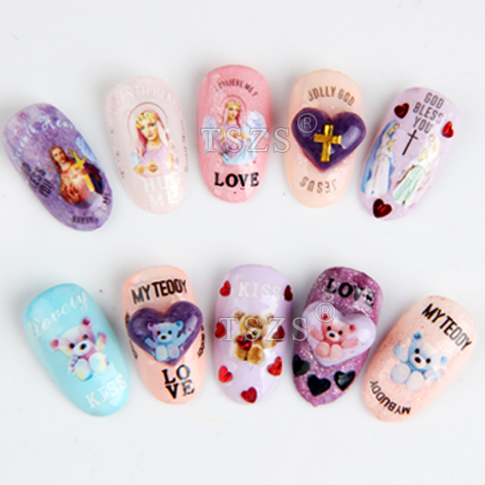 1 sheet/lot 3D Nail Art Stickers goddess jesus Teddy Bear Lovely ...
