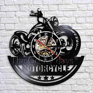 Motocykl zegar ścienny klasyczna ściana Decor dla garażu motocykl sklep czarny wiszący zegar winylowy 3D zegary ścienne wyjątkowe prezenty