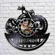 Reloj de pared para motocicleta, decoración de pared vintage para taller de motos, reloj de vinilo colgante negro, Relojes de pared 3D, regalos únicos