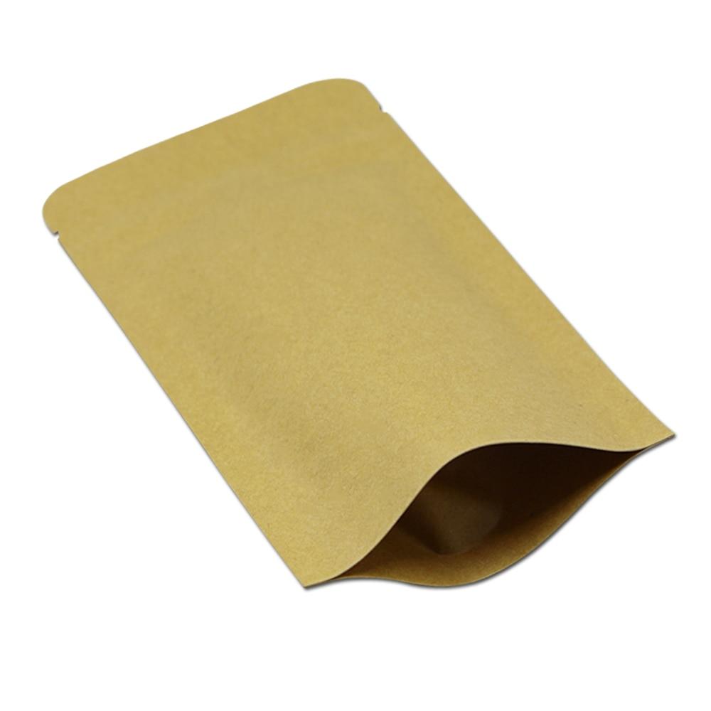 Wholesale 5 9 x8 3 15 21cm Brown Stand Up Kraft Paper Aluminum Foil Zipper Packaging