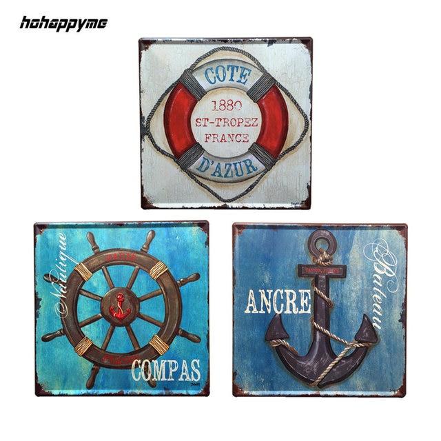 30X30CM Anchor Nautical Decoration Vintage Signs Plaque Metal Pub Cafe Wall  Sign Decorative Plates Home Decor