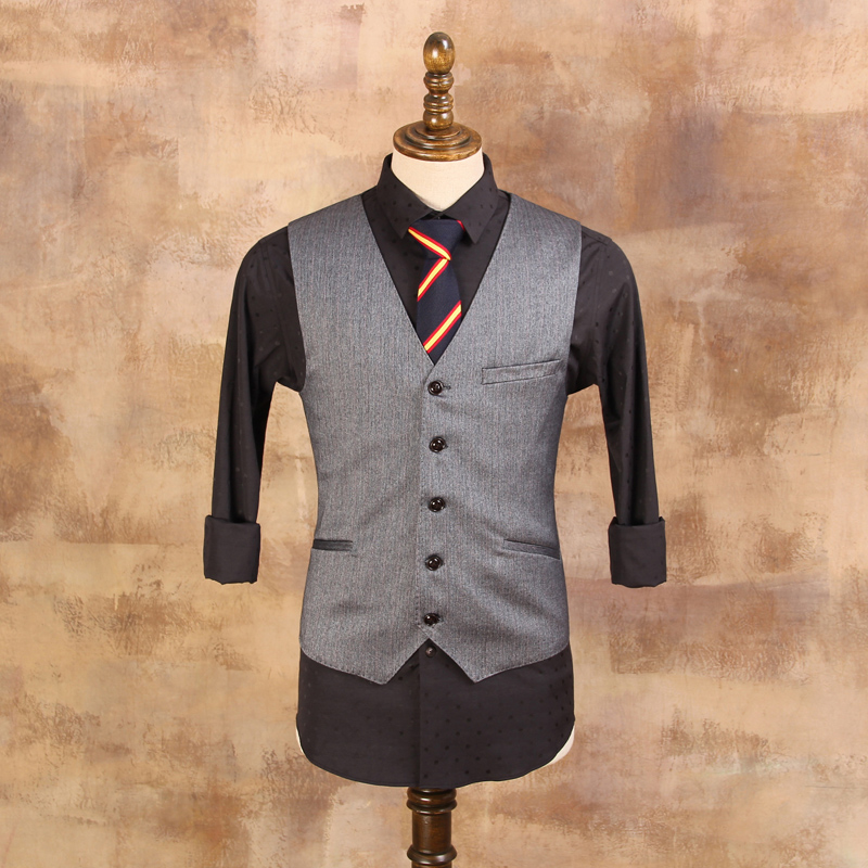 Gray Stripes Mens Waistcoat England Gentleman Wedding Suits Vests Male Suit Vest Single-breasted Business Vest (with suits)