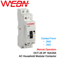 OCT-25 Series 2P 16A/25A Manual Operation AC Household Modular Contactor 220V/230V 50/60Hz Contact 2NO/2NC Din Rail Contactor