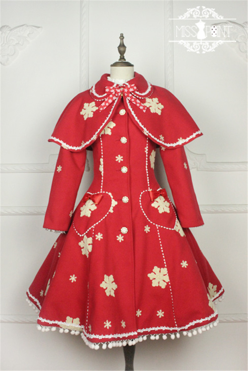 New Little Red Riding Hood - Retro Lovely Red Long Sleeved Wool Dress Christmas Autumn Winter Coat Cloak O