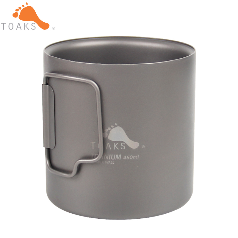 TOAKS Outdoor Camping Double Wall Titanium Cup 450ml Folded Handle Titanium Coffee Mug
