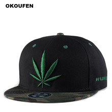 OKOUFEN Hot 2018 New Fashion Baseball Cap Adjustable Hat For Men/Women Casual Hemp Leaf Embroidery Hip Hop Snapback Caps Sun Hat
