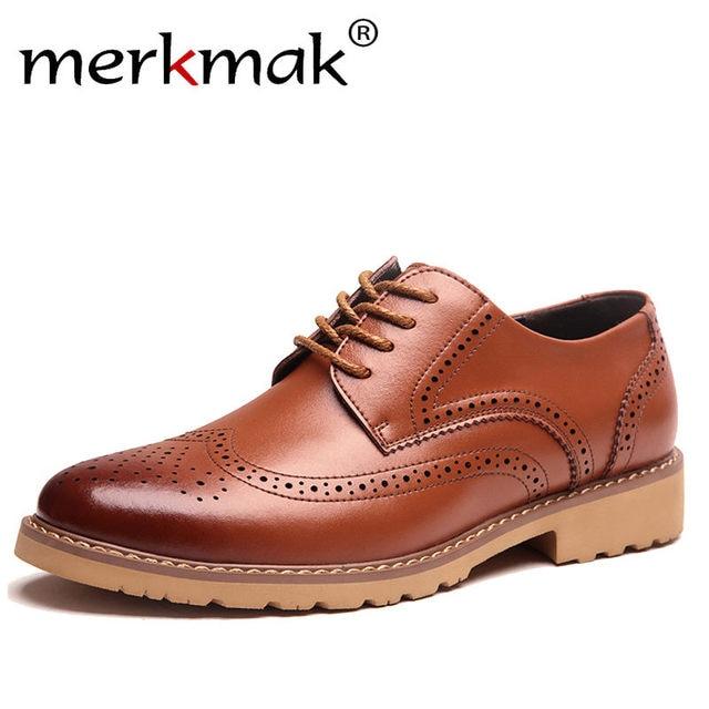 Merkmak/2018 г. модные брендовые Для мужчин; платье в деловом стиле Обувь с перфорацией типа «броги» для Свадебная вечеринка в стиле ретро кожаные чёрный; коричневый круглый носок Оксфорд Обувь