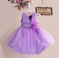 Retail Appliques Knee Length Dresses For Baby Girl V Neck Chiffon Wedding Dress For Girl Kids