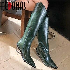 Image 1 - FEDONAS Sonbahar Kış Marka Chelsea Çizmeler Yüksek Topuklu Hakiki Deri Kadın Diz Yüksek Çizmeler Uzun Çizmeler Gece Kulübü Ayakkabı Kadın