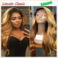 1B#T27# Ombre Full lace wigs Virgin Brazilian Glueless Full Lace Wig With Baby Hair Natural Body Wave Human Hair Wigs For Black