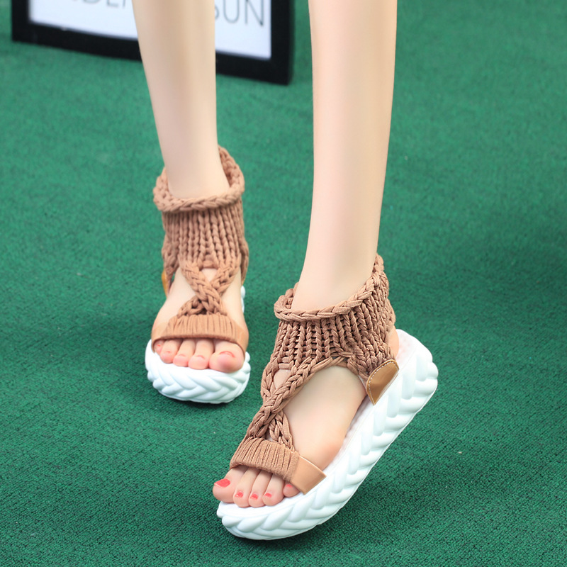 Platform Sandals Mid-Heel Women Shoes Open-Toe Flat Fashion Casual Knitting
