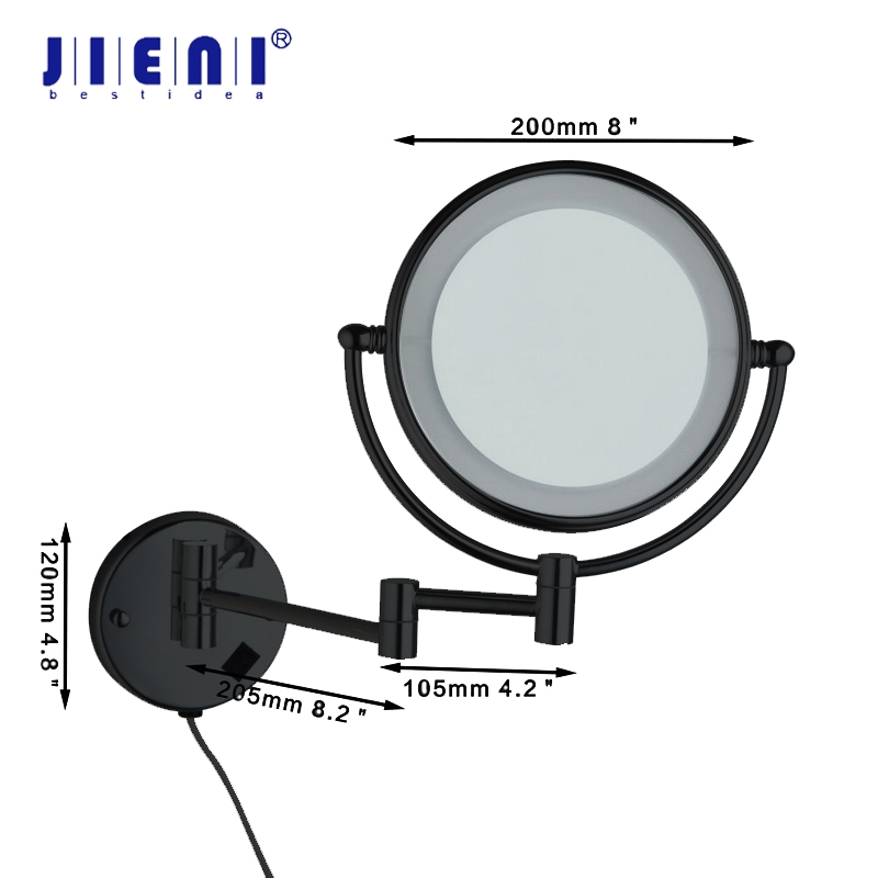 Black Painting Makeup Mirrors LED Wall Mount Extending Folding Double Side LED Light Mirror 3x Magnification
