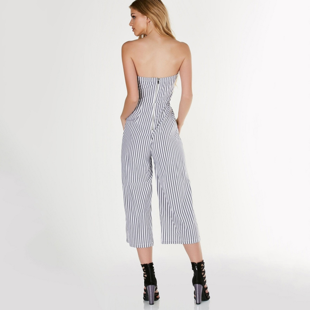 Striped Off Shoulder Jumpsuits For Women