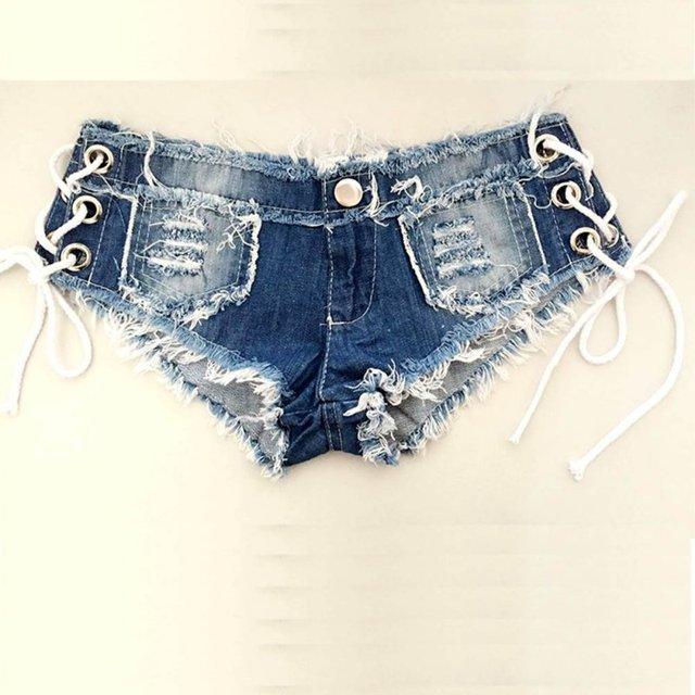 Women Sexy jeans denim shorts Summer Fashion cotton lace-up Sexy super Hole Button short pants Skinny super short jeans LL2