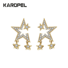 Beautiful Five-Pointed Star Micro AAA Zircon Earrings Fashion Jewelry For Women стоимость