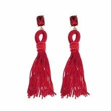 BK Vintage Thread Tassel Earrings Acrylic Women Boho Enthic Tribal Gypsy
