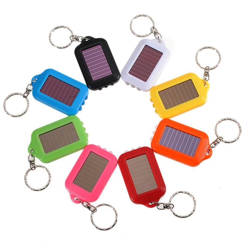 9 Colors Mini Portable Solar Power Rechargeable 3 LED Solar Light LED Flashlight Keychain Light Torch Ring Holder solar powered 3 led white flashlight keychain silver