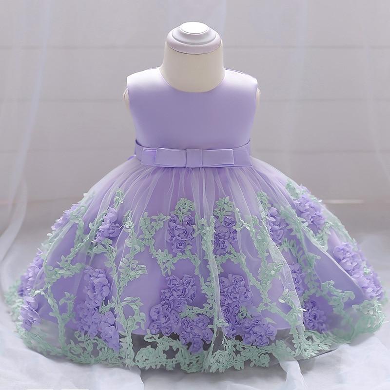 2018 vintage Baby Girl Dress Chrzest Sukienki dla dziewczynek 1 rok - Odzież dla niemowląt - Zdjęcie 2