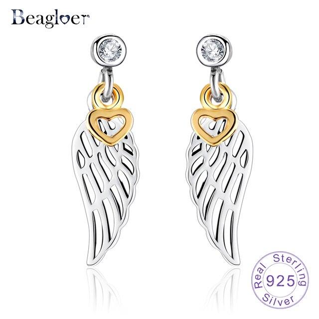 Beagloer New Fashion 100% 925 Sterling Silver Feather Stud Earrings Gold  Color Heart Shape Earrings for Women PSER0005-B