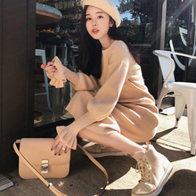Women Dress Sweater Butterfly Sleeve Long Sleeve Long O-Neck Solid Color Slim Dress Korean Version Of Casual New Style 2018