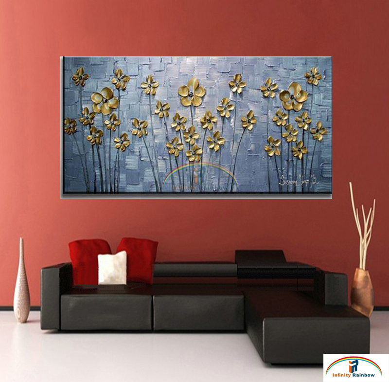 2016 Home Decor Real Promotion Golden Leaf Oil Painting Wall Art Handpainted Modern Floral On Canvas