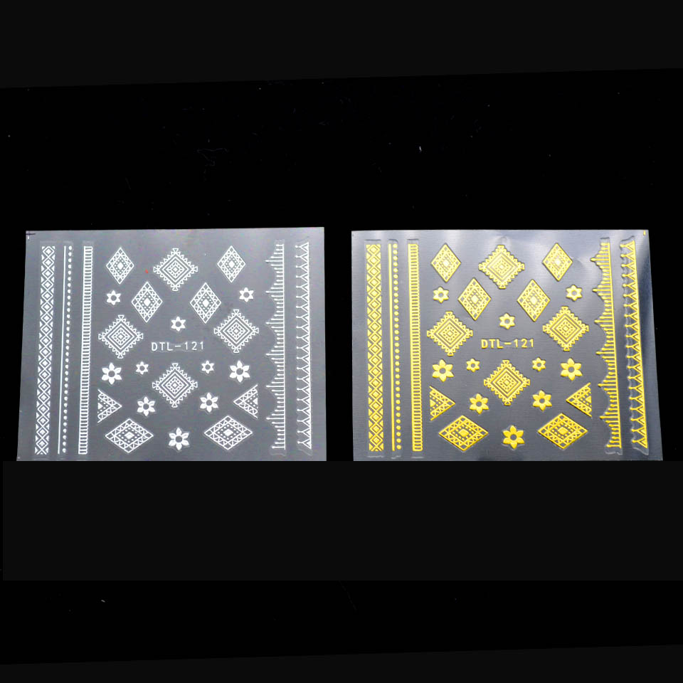3D Nail Art Stickers Tribal Nail Sticker Flower Gold Silver Nagel ...