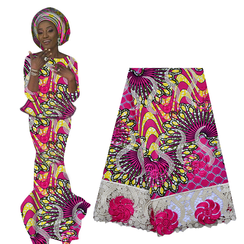 2019 Best Selling Hollandais Wax Supers Ankara Wax Lace Fabric African French Embroidery Lace Fabric Nigerian Lace For Woman