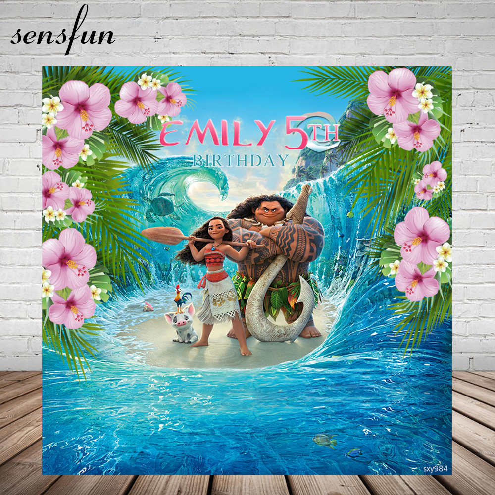 Sensfun Flowers Moana Girls Birthday Backdrop Background Waialiki Maui Party Event Banner Newborn Photo Studio 7x5FT