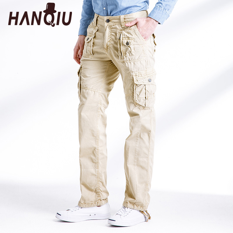 HANQIU Trousers Cargo-Pants Military Loose Multi-Pocket Solid Cotton Comfortable Men