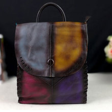 New 2018 High Quality Genuine Leather Backpacks Colorful Women  Vintage Students Bag Female Handmade School Bags