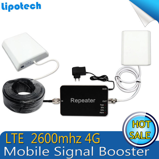 Conjunto completo 4G LTE FDD 2600 MHz Cell Phone Signal Booster Móvel Repetidor Amplificador Repetidor 65dB Ganho telefone Inteligente para Casa
