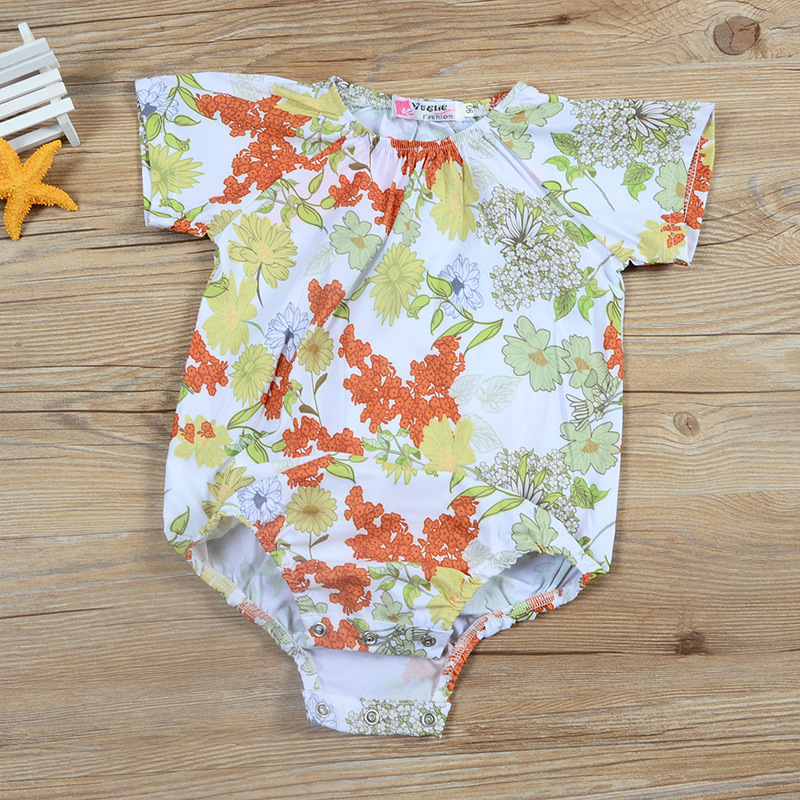 New Arrivals Toddler Clothing Infant White Floral Girls Clothes Short Sleeve Casual Cute 2018 Summer Baby Girl Bodysuit Onesie