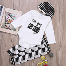 3 pcs Newborn Baby Boy Girl Letter Print Long Sleeve Bodysuit Romper+ Long Pants+Hat Outfit Summer Autumn Kids Clothing Set