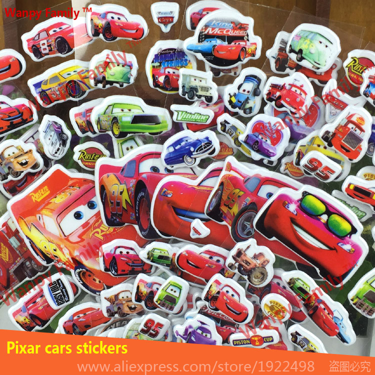 Cute pixar cars wall stickers 3d cartoon cars stickers for for Disney cars mural uk